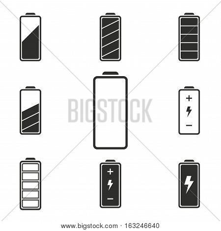 Battery vector icons set. Illustration isolated for graphic and web design.