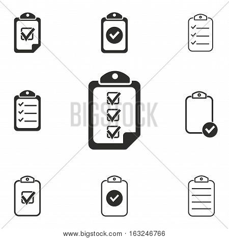 Clipboard vector icons set. Illustration isolated for graphic and web design.