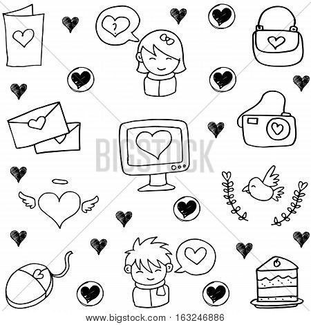 Love doodle vector set illustration collection stock