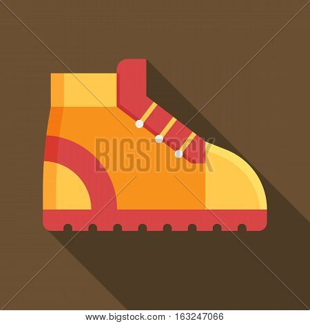 Tourist hiking boot square icon. Orange trekking shoe vector illustration with long shadow. Outdoor activity footwear in flat design.