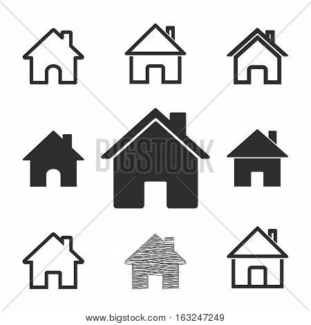 Home vector icons set. Illustration isolated for graphic and web design.