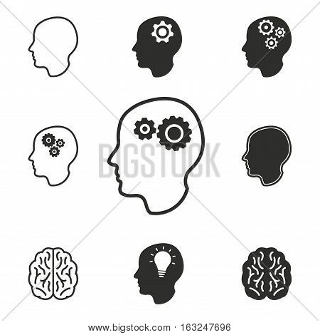 Brain vector icons set. Illustration isolated for graphic and web design.