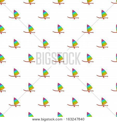 Sport boat with sail pattern. Cartoon illustration of sport boat with sail vector pattern for web