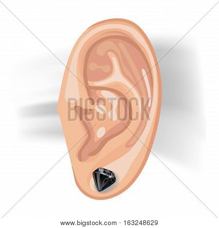Human ear with an hanging earring front view vector illustration isolated on white background