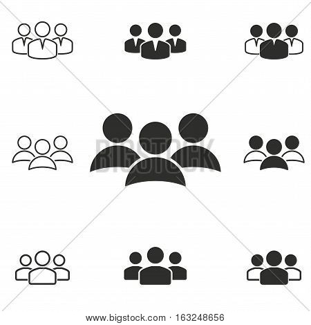 People vector icons set. Illustration isolated for graphic and web design.