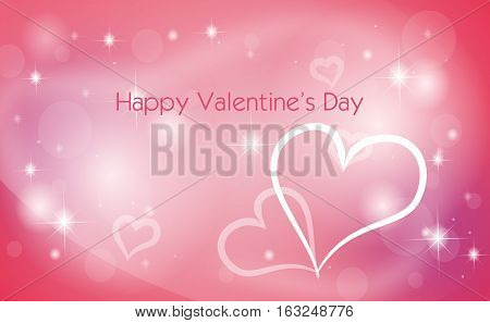Greeting card to valentine day with shining pink background