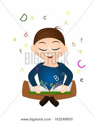 Illustration of sitting boy and learning with open book