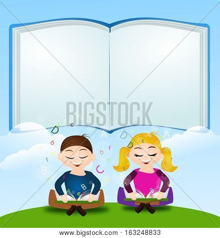 Illustration of two learning children sitting on grass with big blank book