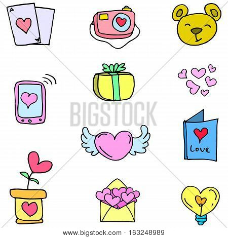 Vector of love theme doodles collection stock