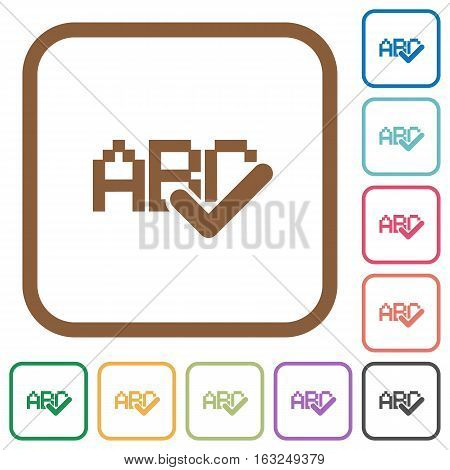 Spell check simple icons in color rounded square frames on white background
