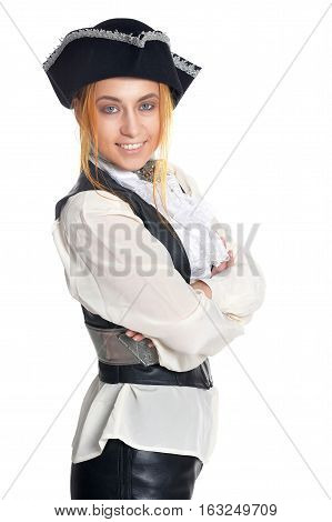 young woman wearing pirate costume, posing on white background