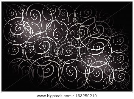 Illustration of Beautiful Black Vintage Texture Background with Spiral Pattern for Add Content or Picture.