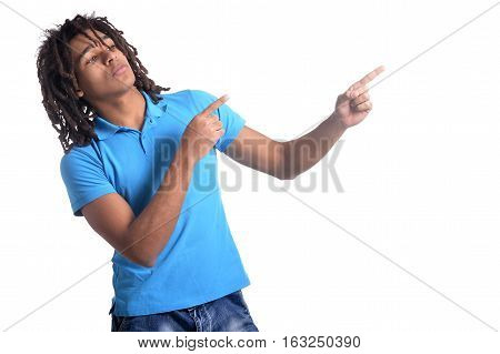 Portrait of mixed race teen boy pointing isolated on white background