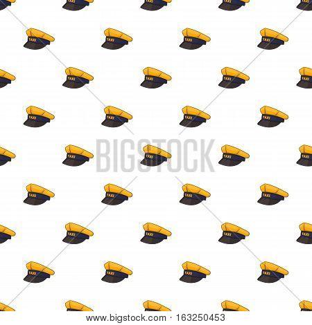 Cap taxi driver pattern. Cartoon illustration of cap taxi driver vector pattern for web