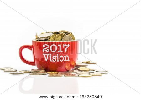 Red cup with cons and text. Financial concept
