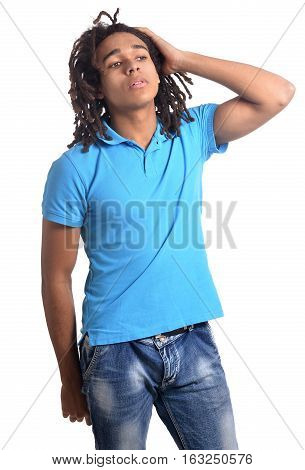 Portrait of tired mixed race teen boy isolated on white background