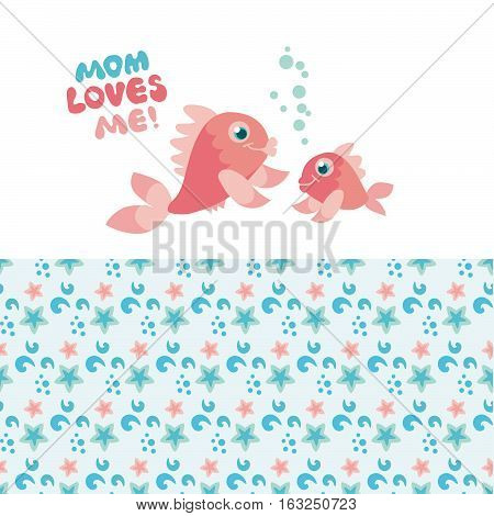 pastel color little fish family vector illustration