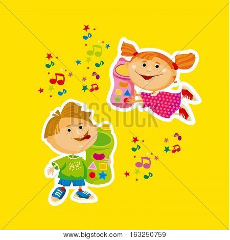 kids cartoon with toy cell phone vector illustration