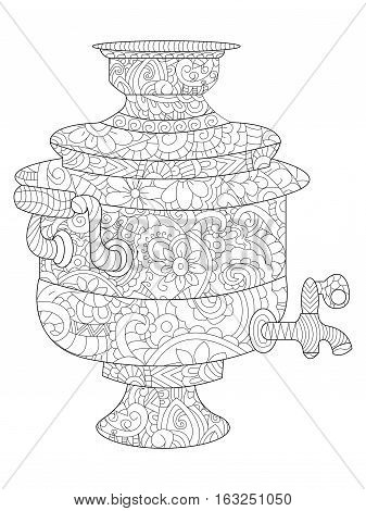 Samovar coloring book for adults vector illustration. Anti-stress coloring for adult teapot. Zentangle style nature tea. Black and white lines tableware. Lace pattern.