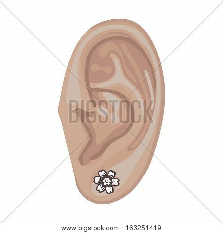 Human ear with framed earring front view vector illustration isolated on white background