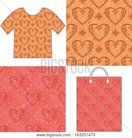 Set of Valentine Holiday Seamless Backgrounds, Tile Patterns with Pictogram Hearts and Examples in Form of Shirt and Shopping Bag. Eps10, Contains Transparencies. Vector
