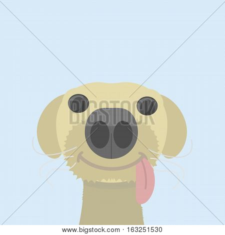 Funny and happy dog with a tongue on a blue background