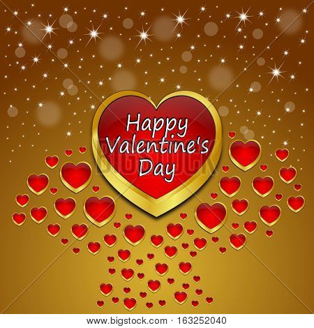 decorative golden Valentine's Day Greeting card - illustration
