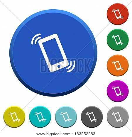 Ringing phone round color beveled buttons with smooth surfaces and flat white icons