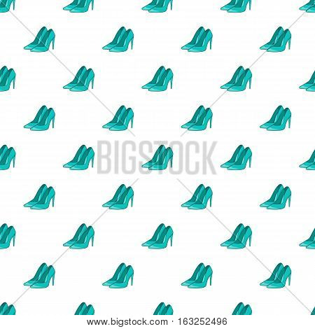 Women high heeled shoes pattern. Cartoon illustration of women high heeled shoes vector pattern for web