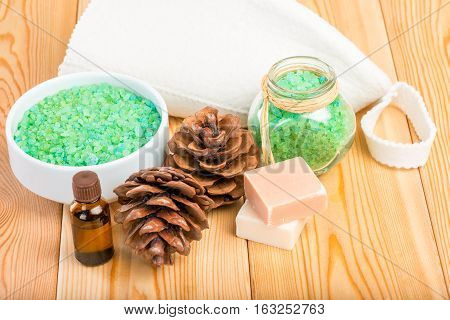 Natural Sea Salt And Soap With Pine Essential Oil For A Sauna And Spa