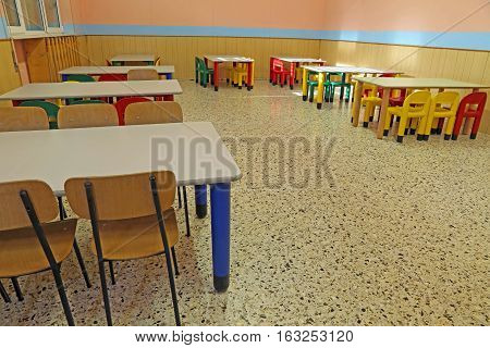 Refectory Tables And Chairs In A Kindergarten