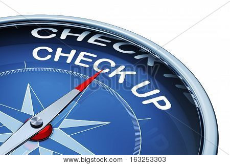 3D rendering of a compass with a check up icon