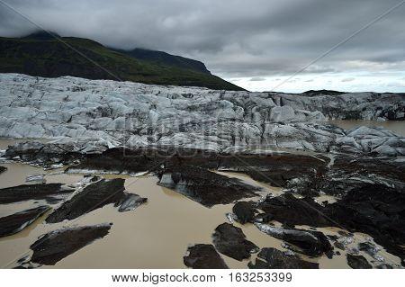 Skaftafell glacier Iceland. Mystic glacier and landscape of Iceland.