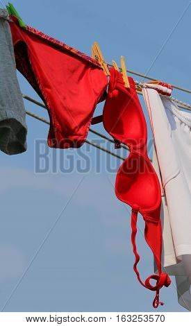 Big Red Bra And Panties Hung Out To Dry In The Sun Outside