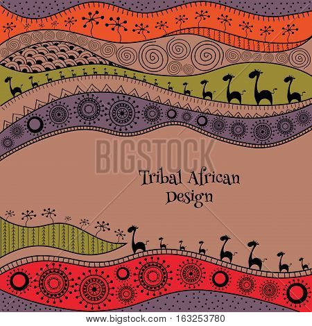 African Background Template For Cover, Banner, Card And Flyer Design.