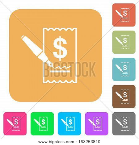 Cheque signing icons on rounded square vivid color backgrounds.