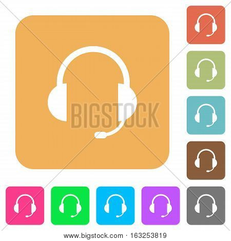 Headset icons on rounded square vivid color backgrounds.