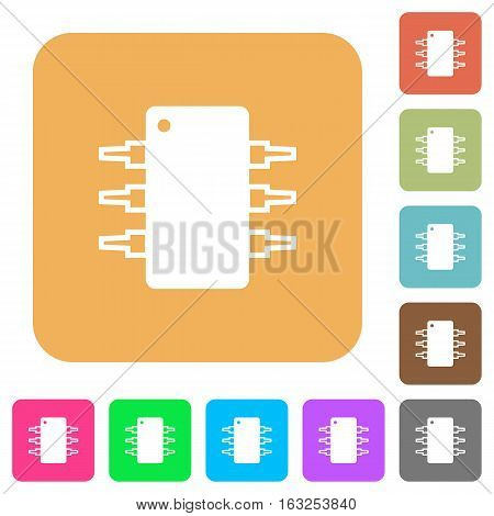 Integrated circuit icons on rounded square vivid color backgrounds.