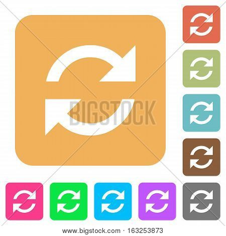 Refresh icons on rounded square vivid color backgrounds.