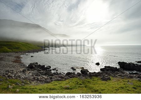 Westfjord coast in Iceland at summer sun.