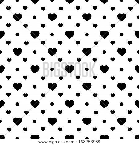 Heart black on white seamless pattern. Fashion graphic background design. Abstract texture. Monochrome template for prints textiles wrapping wallpaper website etc. Vector illustration