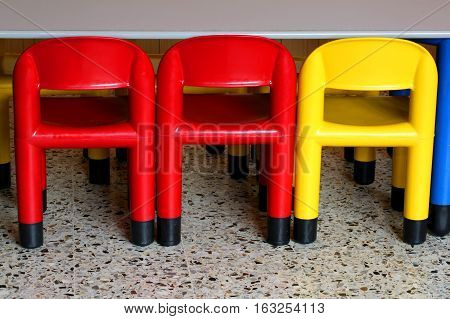 Three Chairs In A Nursery For Small Children