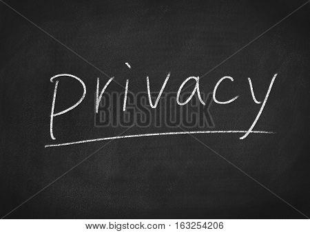 privacy concept word on blackboard chalkboard background