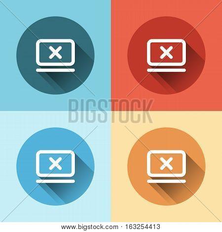 Flat Cancel icon inside monitor on white background