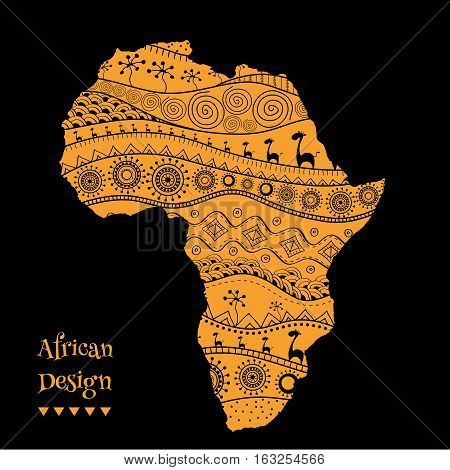 Textured vector map of Africa. Hand-drawn ethno pattern, tribal background.