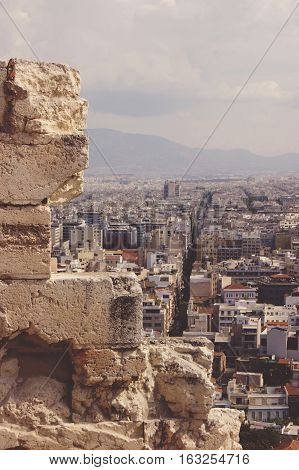 View of Athens from the ruins of the Acropolis
