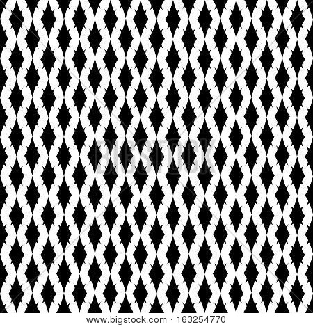 Rhombus seamless pattern. Fashion graphic background design. Modern stylish abstract texture. Monochrome template for prints textiles wrapping wallpaper website. Vector illustration.