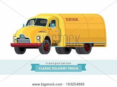 Classic Medium Duty Delivery Truck Front Side View