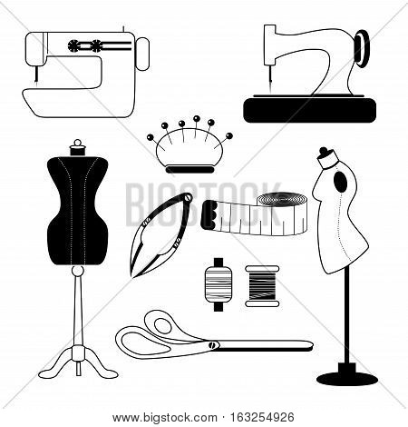 Set of sewing vector icons. Sewing tool and needlework icons set.