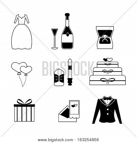 Wedding Vector Icons Set / Set of Vector Wedding Love Elements